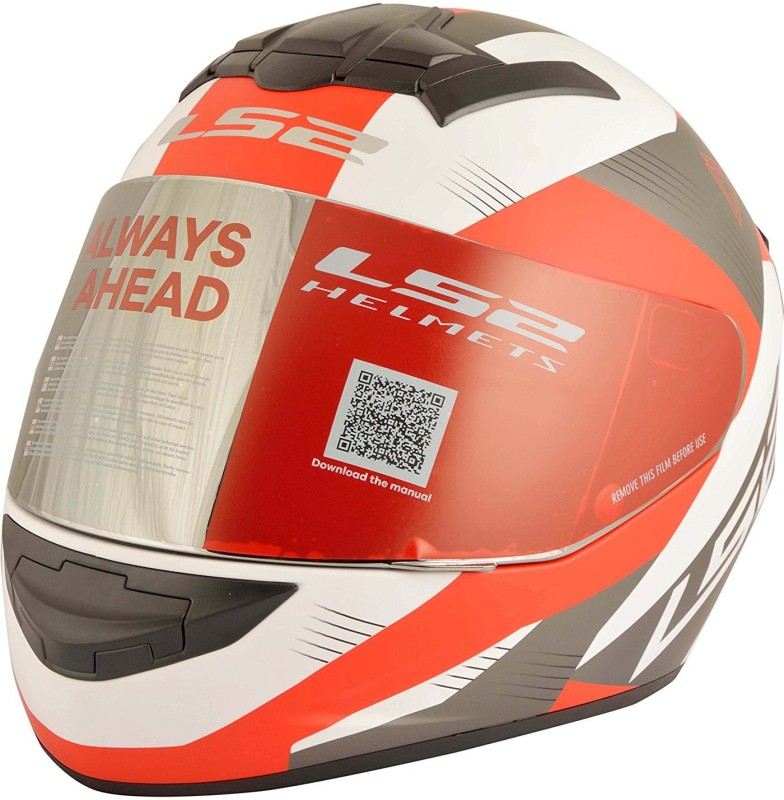 LS2 LS2 FF352 Trooper White Red Full Face Helmet Motorbike Helmet(White, Red)