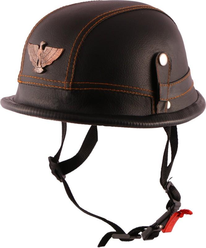 Autofy O2 German Helmet With Leather Finishing Motorbike Helmet(Black)