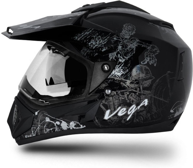 VEGA Off Road Sketch Motorbike Helmet(Black Silver)