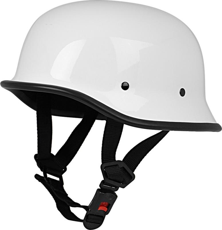 Anokhe Collections German World War 2 Retro Style Motorbike Helmet(White Glossy)