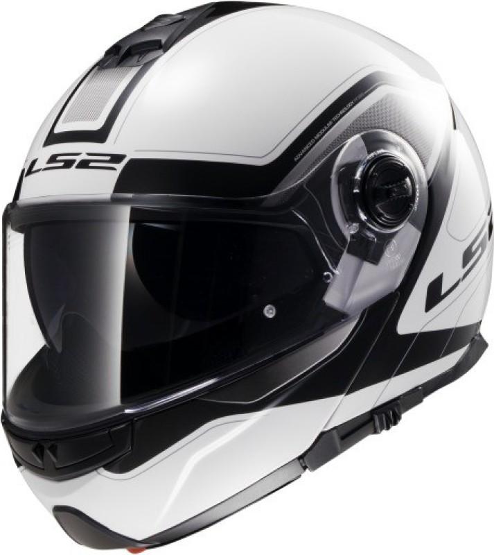 LS2 386 Armory White Black Motorsports Helmet(White, Black)