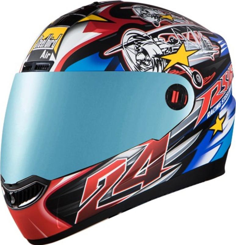 Steelbird AIR Hovering Mens Bargy Design Motorbike Helmet(Mat Black red)