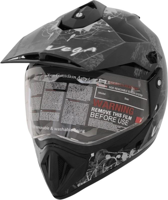 Vega Off Road D/V Monster Motorsports Helmet(Silver, Black)