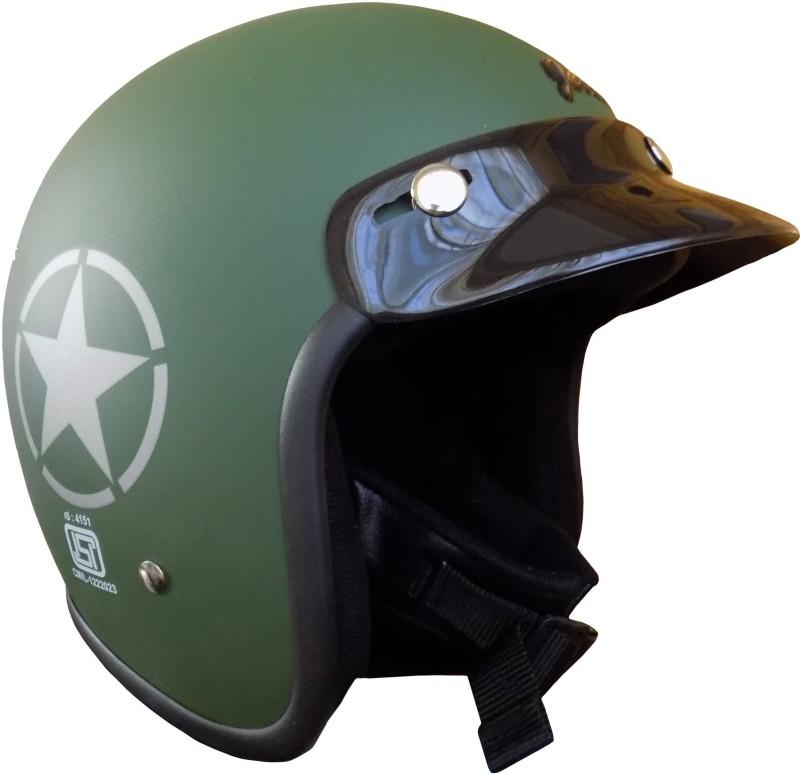 Anokhe Collections JetStar Retro Styled Motorbike Helmet(Military Green Matte)