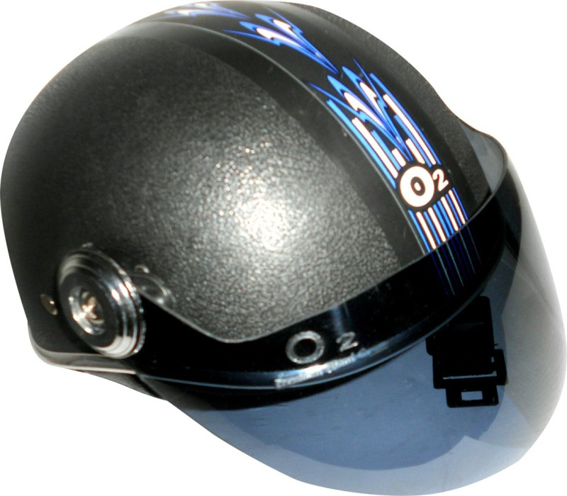 O2 Mini Chrome Motorbike Helmet(Black)