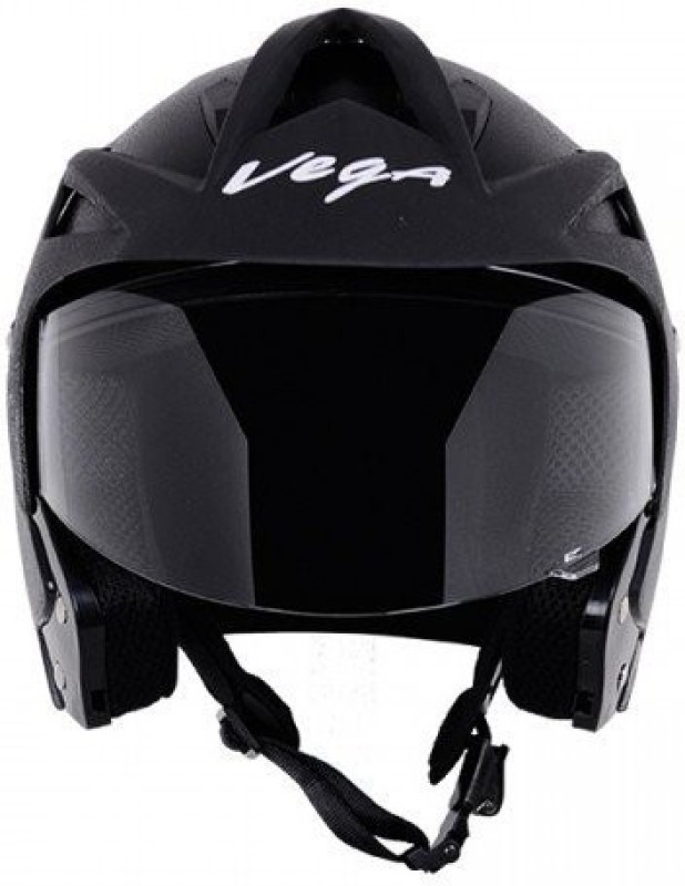 Vega Crux OF (Open Face) Motorbike Helmet(Black)