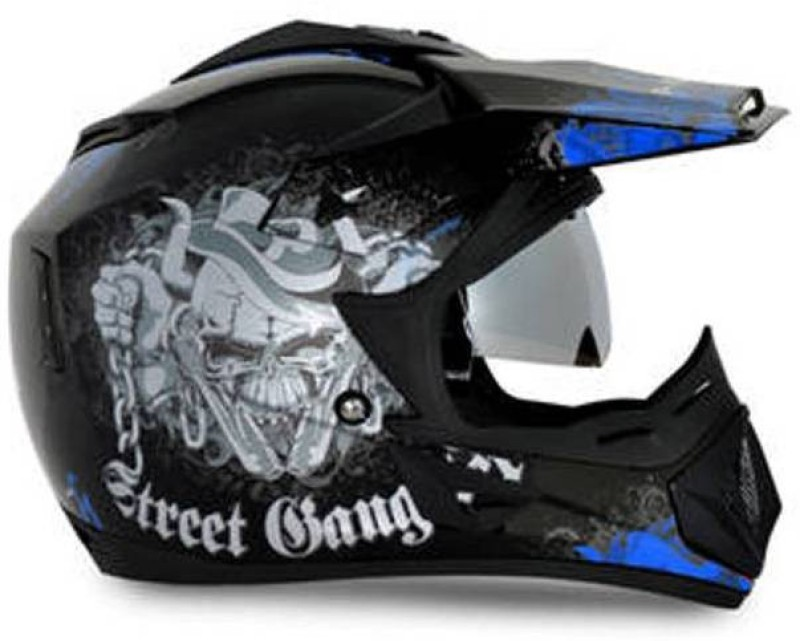VEGA Gangster Motorbike Helmet(Blue, Black)