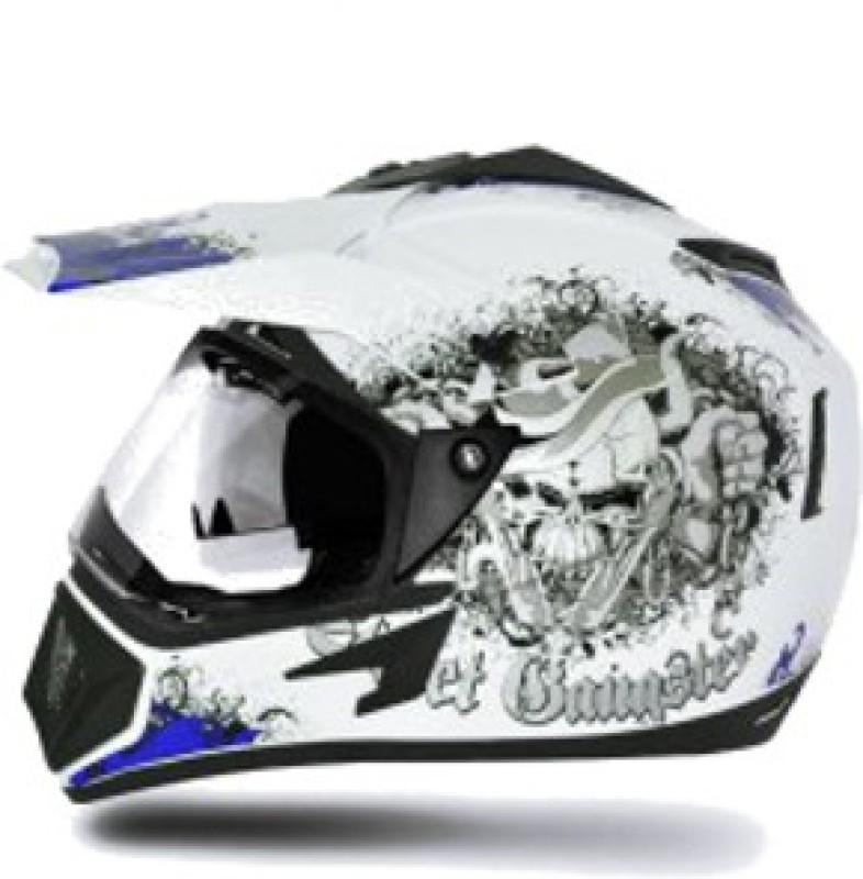 VEGA Off Road D/V Gangster Motorbike Helmet(White, Blue)