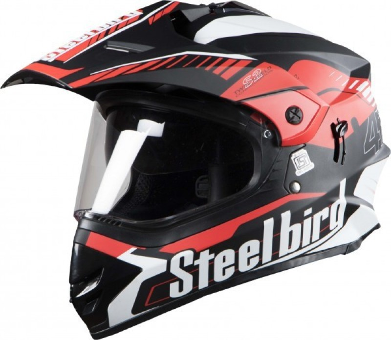 Steelbird SBH-13 Motorbike Helmet(Glossy Black with Red)