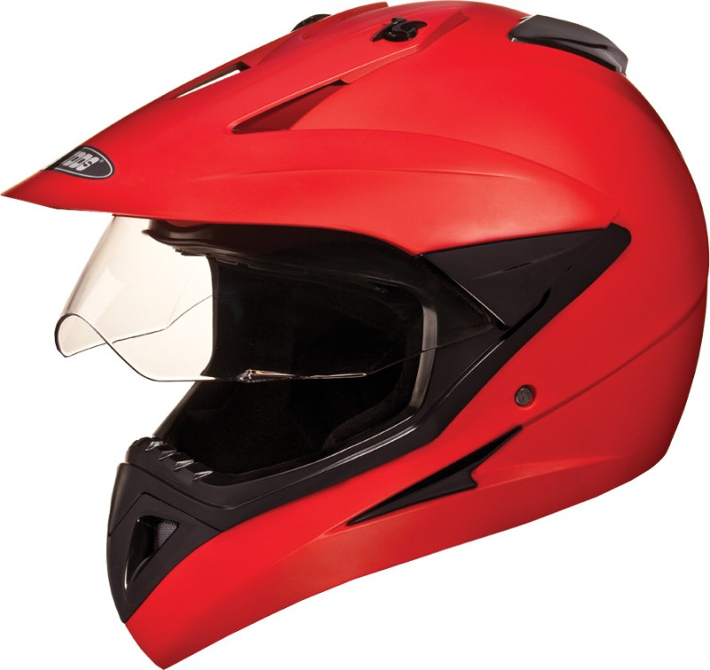 Studds Motocross with Visor Plain Motorsports Helmet(Matt Red)