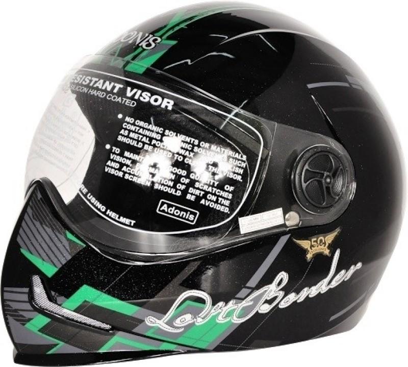 Steelbird Adonis Graphics Lost Border Full Face Clear Visor Motorbike Helmet(Black, Green)
