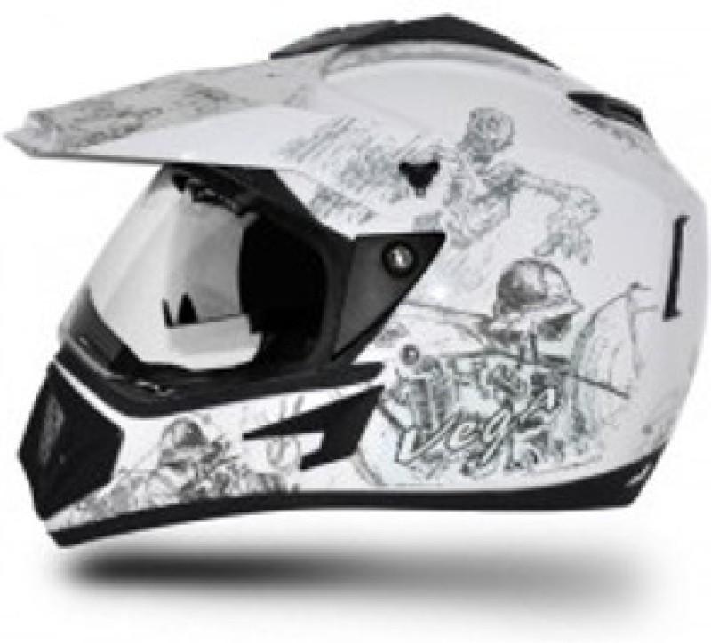 VEGA Off Road Sketch Motorbike Helmet(Silver, White)
