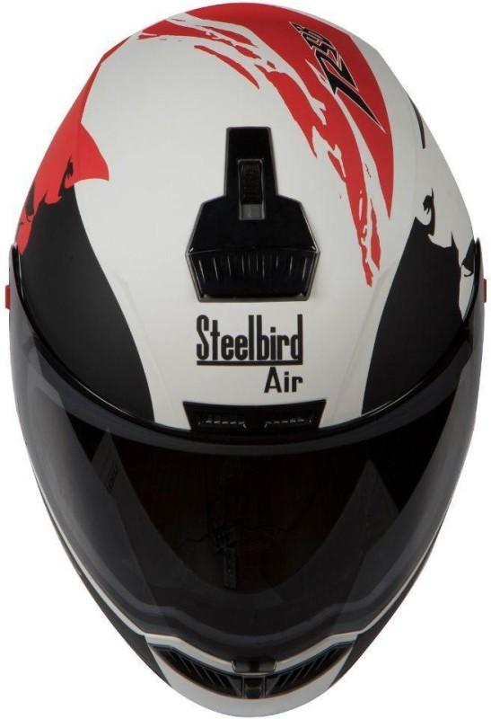 Steelbird AIR SBA-1 Beast Motorbike Helmet(SBA-1 Beast Glossy White & Red With Smoke Visor Medium-580MM)