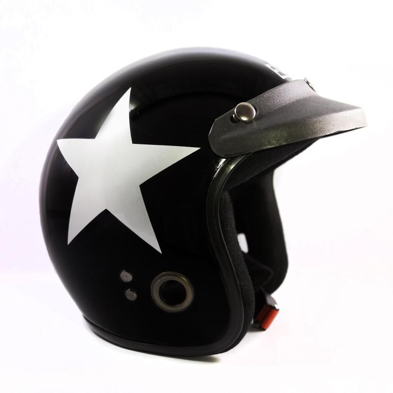 Autofy Habsolite Ecco Black & Grey Star Motorbike Helmet(Black)