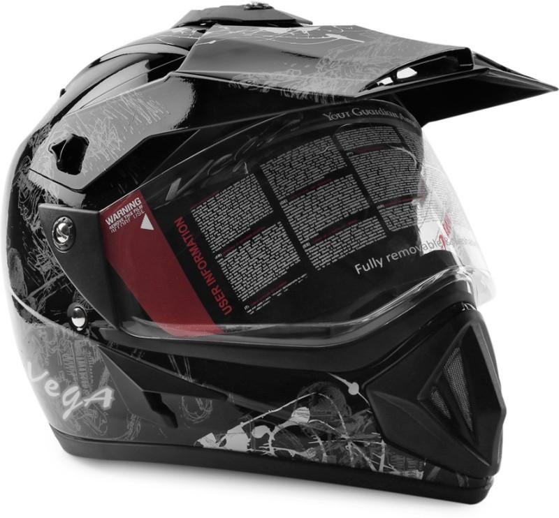 Vega Off Road D/V Monster Motorsports Helmet(Black, Silver)
