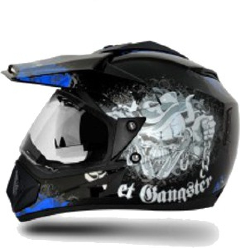 VEGA Off Road D/V Gangster Motorbike Helmet(Black, Blue)