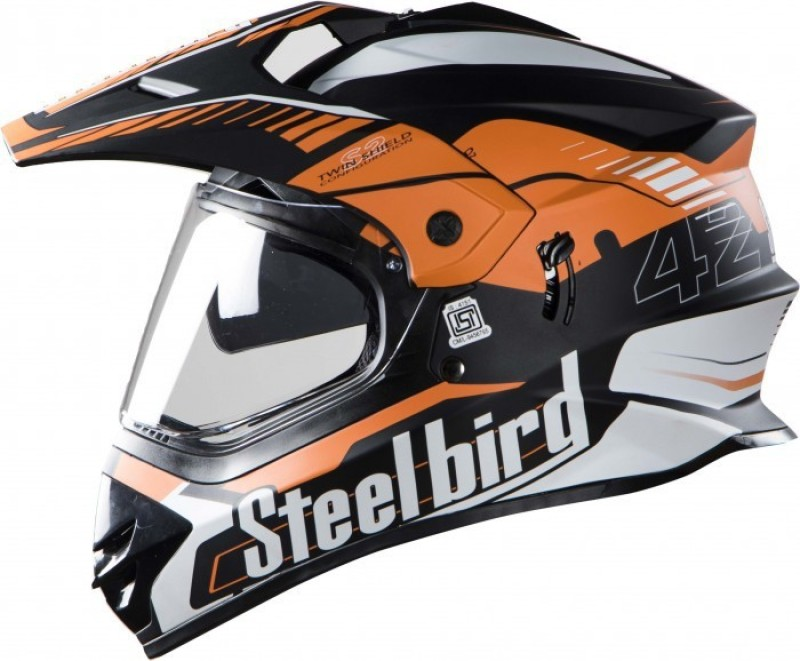 Steelbird SB-42 Airborne Motorbike Helmet(Matt Black, Orange)