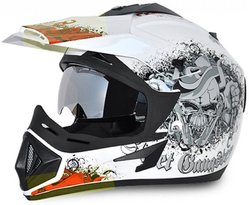VEGA Off Road Gangster Motorbike Helmet(White, Orange)