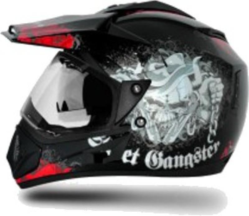 VEGA Off Road D/V Gangster Motorbike Helmet(Red, Black)