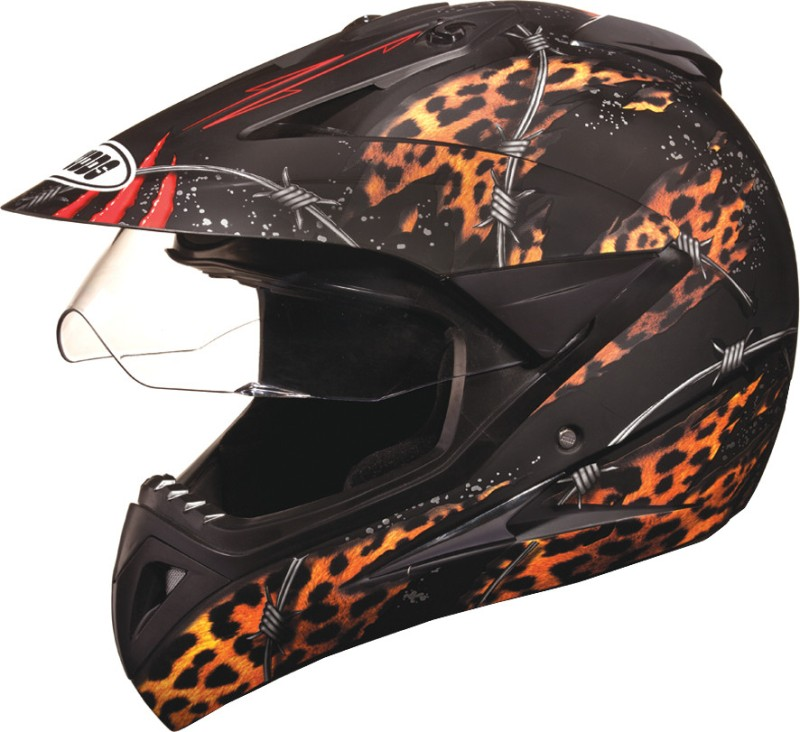 Studds Motocross D1 with Visor Motorsports Helmet(Matt Black N12)