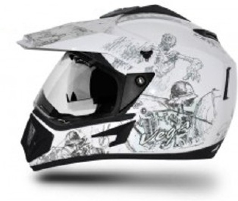 VEGA Off Road Sketch Motorbike Helmet(White, Silver)
