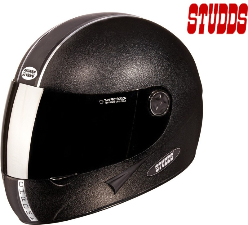 Studds Chrome Economy with Mirror Visor Motorsports Helmet(Black Plain)