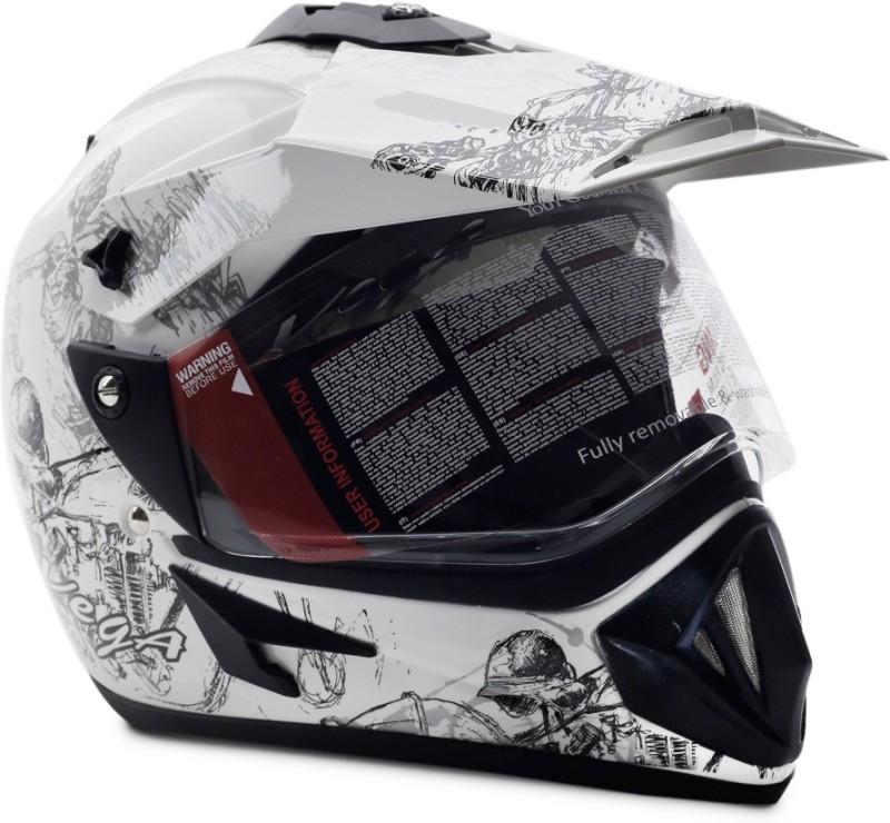 VEGA Off Road Sketch Motorsports Helmet(White Silver)