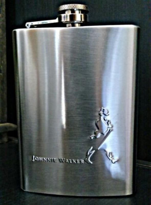 Pia International Embossed Stainless Steel Hip Flask(236 ml)