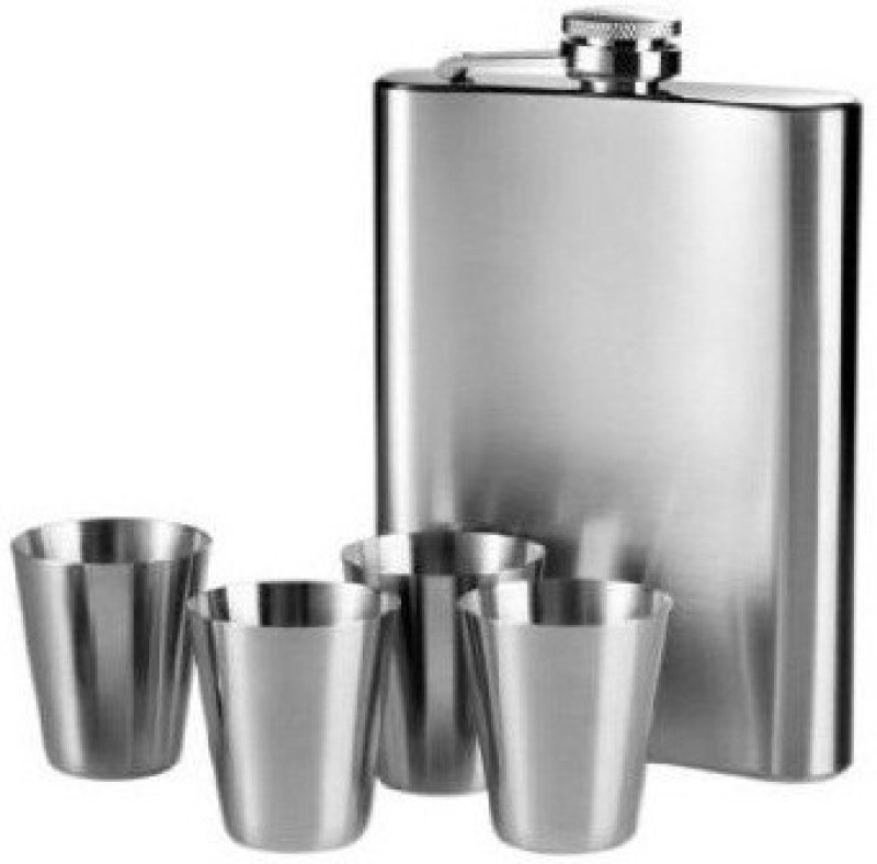 Phoenix Steel Set with 4 Mugs Hip Flask(210 ml)