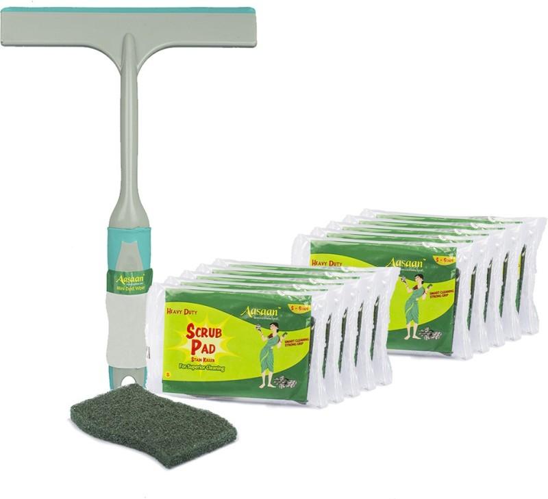 Aasaan Heavy Duty Scrub Pads (S), 10 pcs and Mini Dust Wiper, 1 pc Scrub Pad, Cleaning Wipe