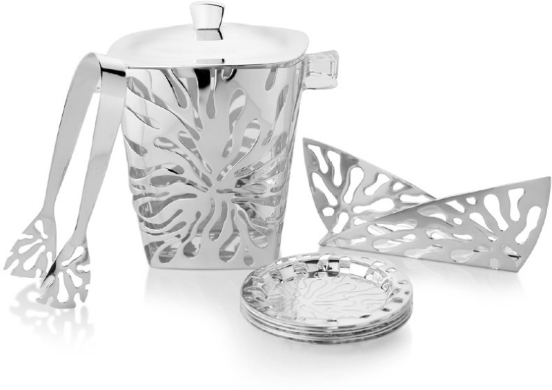 Episode Zinnia Bar Collateral Brass, Silver Plated, Wood Ice Bucket(Silver 3 L)