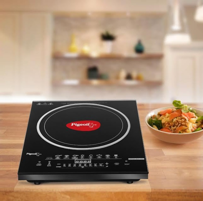 Pigeon Rapido Anti Skid Induction Cooktop(Black, Touch Panel)