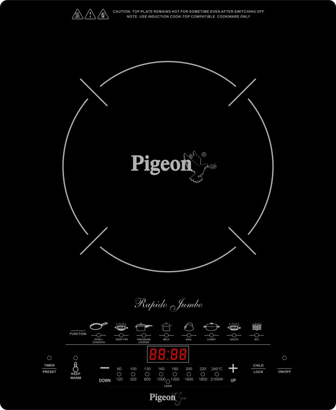Pigeon Rapido Jumbo Induction Cooktop(Black, Touch Panel)