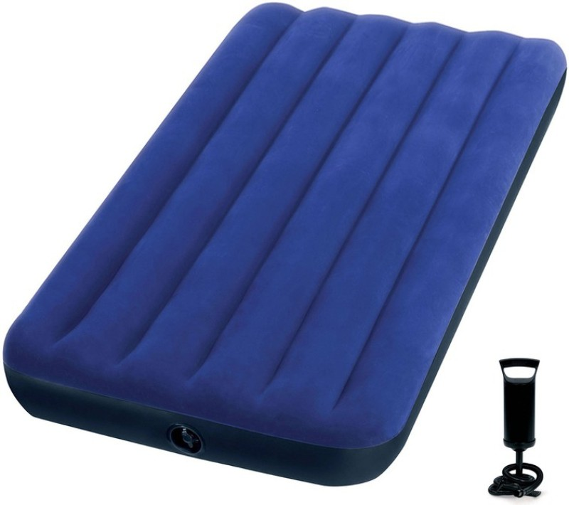 Intex VKI5468 Air Lock Pump with Single Inflatable Bed(Blue)
