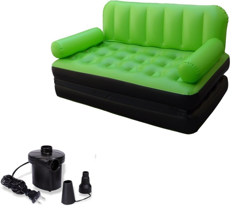 IBS Airsofa cum Bed 5 In 1 PVC Air Multipurpose Green PP Doublebed Booster Kids Sleeping Mattress Travel Lounge Seat Carbed with Electric Pump PP 3 Seater Inflatable Sofa(Color - Green)