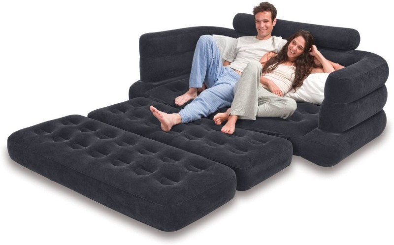 Intex Velvet 4 Seater Inflatable Sofa(Color - black)