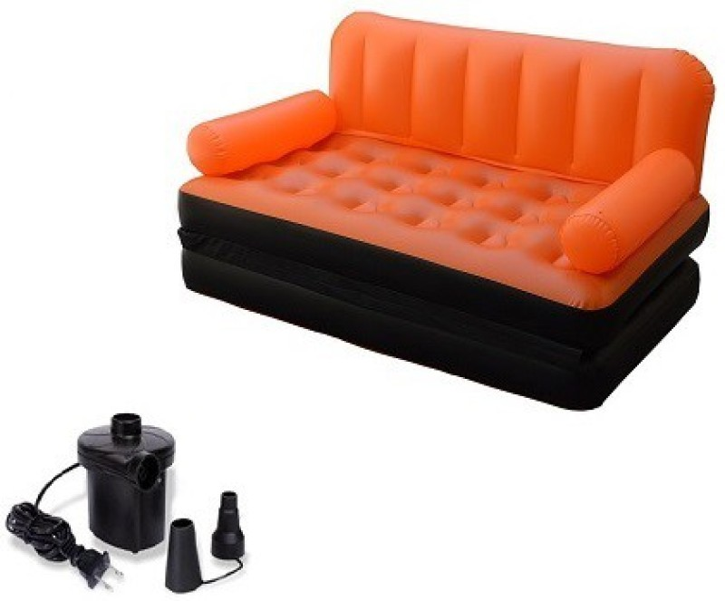IBS Airsofa cum Bed 5 In 1 PVC Air Multipurpose Orange PP Doublebed Booster Kids Sleeping Mattress Travel Lounge Seat Carbed with Electric Pump PP 3 Seater Inflatable Sofa(Color - Orange)