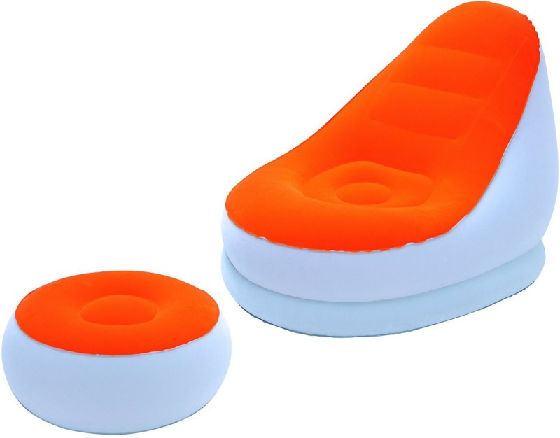 Shrih Inflate Chair PVC 1 Seater Inflatable Sofa(Color - Orange)