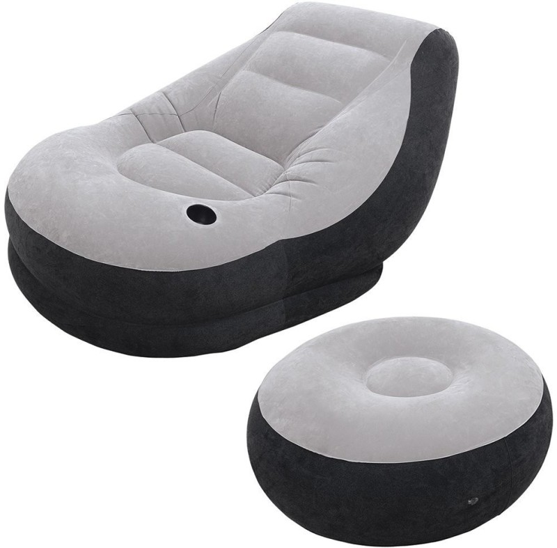 Intex VW INTEX Ottoman Chair Vinyl 1 Seater Inflatable Sofa(Color - Black, Grey)