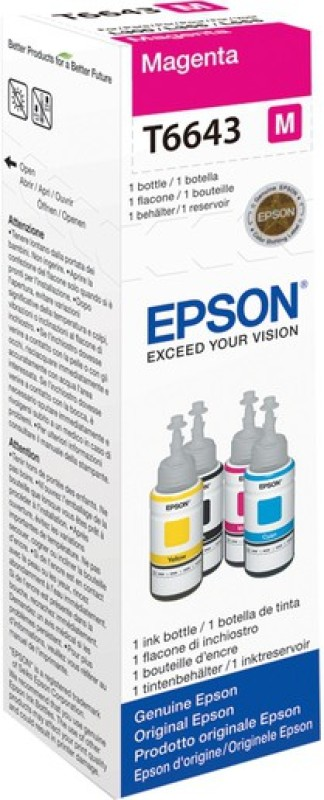 Epson Epson Original Refill Ink T6643 For L100 / L110 / L120 / L200 / L210 / L300 / L350 / L355 / L550 / L555 - 70 ML Ink Single Color Ink(Magenta) t6643