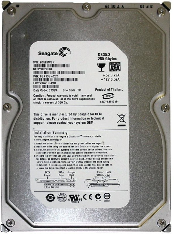 Seagate Barracuda 250 GB Desktop Internal Hard Disk Drive (ST3250820SCE)