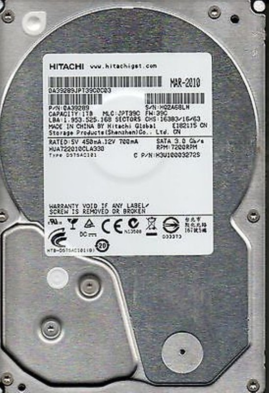 Hitachi HITACHI 1 TB Desktop Internal Hard Disk Drive (HUA722010CLA330)