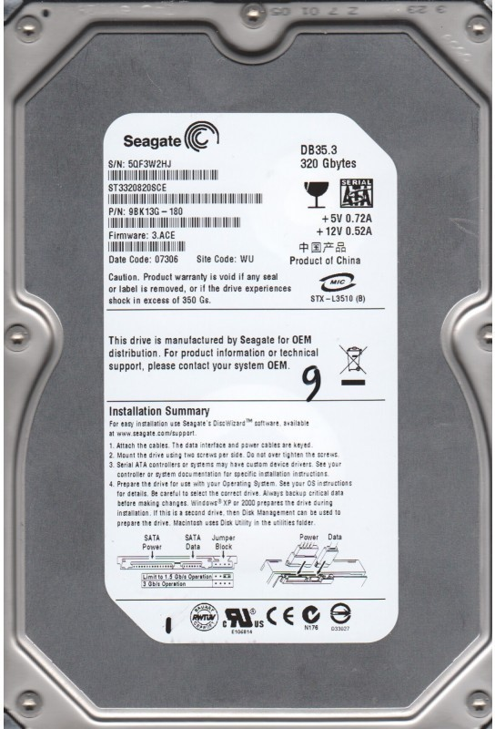 Seagate DB35.3 320 GB Desktop Internal Hard Disk Drive (ST3320820SCE)