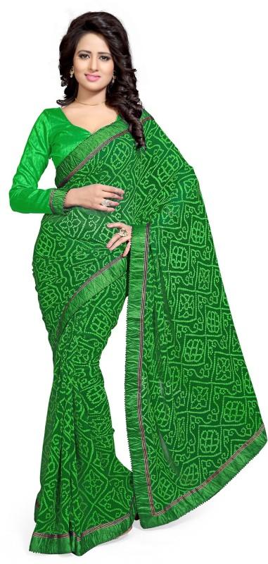 Mirchi Fashion Printed Bandhani Georgette Saree(Green)