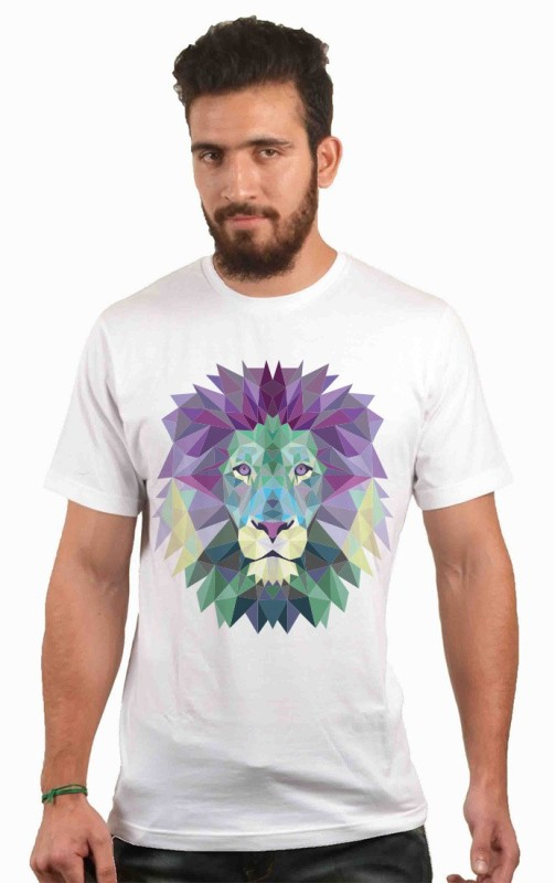POLYGON Printed Men's Round Neck White T-Shirt