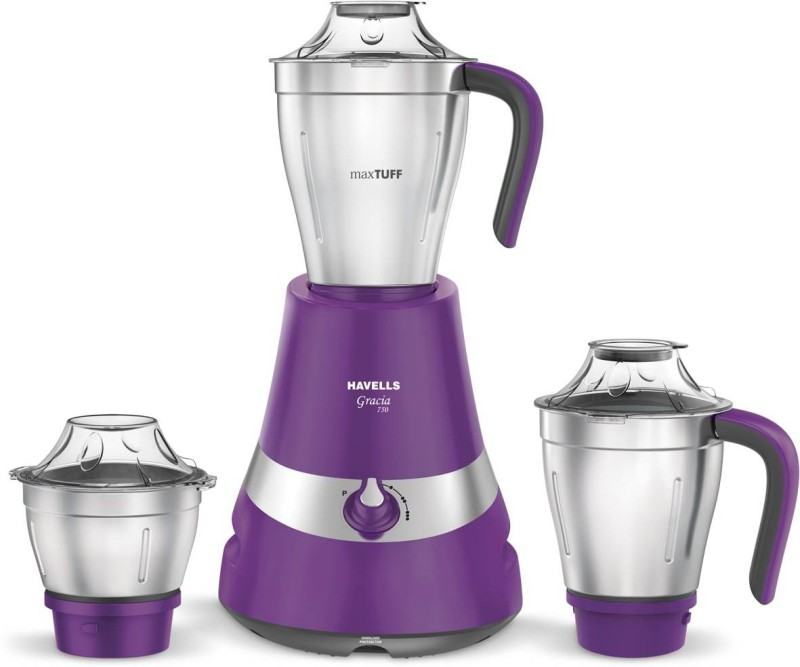 Havells Gracia 750 W Mixer Grinder(Purple, 3 Jars)
