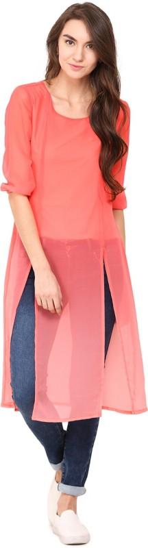 Trend Arrest Party 3/4 Sleeve Solid Women Pink Top