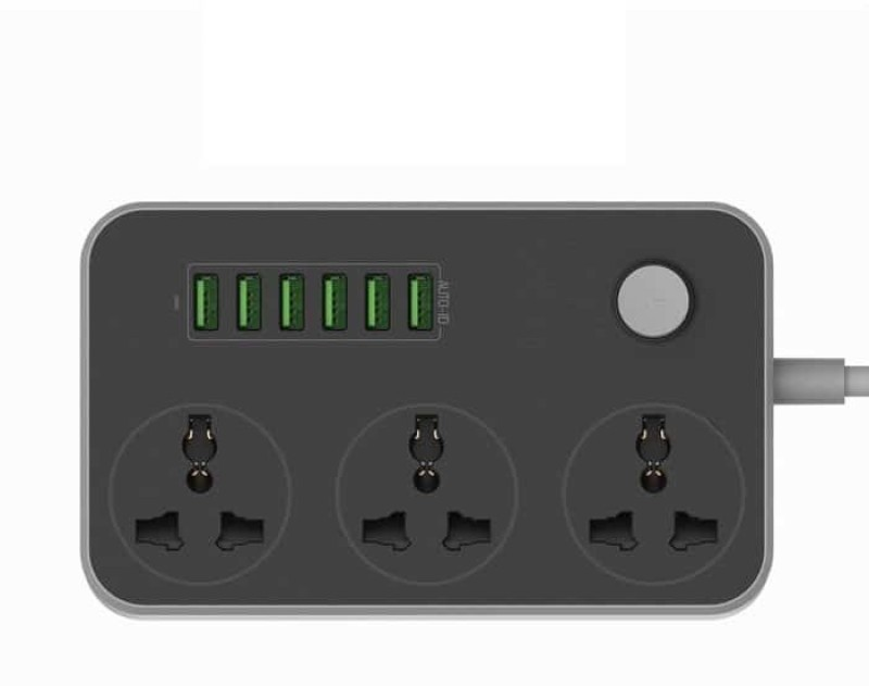 VibeX ™ 5V 3.4A 3 International Power Socket 6 USB Port 6.56ft/2m 1 A Multiport Tablet Charger with Detachable Cable(Black)