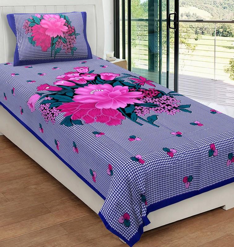 Metro Living 104 TC Cotton Single Floral Bedsheet(1 Single Bedsheet With 1...