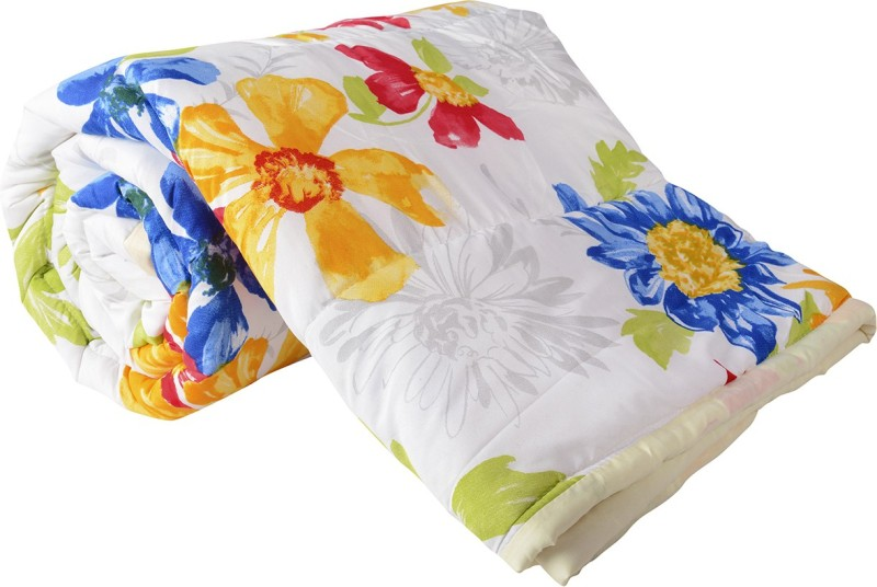 Clasiko Floral Double Quilts & Comforters White, Yellow, Blue(Micro Quilt,...
